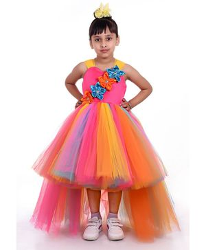 Indian Tutu Sleeveless Flower Detailed Fit & Flare High Low Dress - Multi