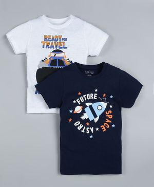 Plum Tree Pack of 2 Half Sleeves Rocket Print T-Shirts - Navy Blue & White