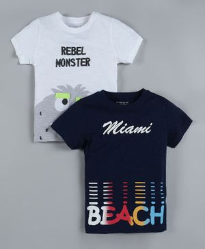 Plum Tree Pack of 2 Half Sleeves Monster Print T-Shirts - Navy Blue & White