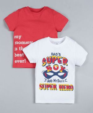 Plum Tree Pack of 2 Half Sleeves Super Boy Print T-Shirts - Off White & Red