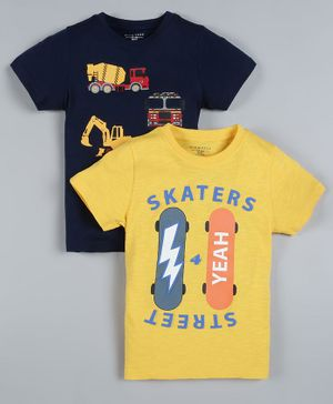 Plum Tree Pack of 2 Half Sleeves Skateboard Print T-Shirts - Navy Blue & Yellow