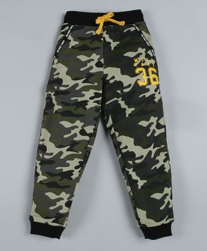 Plum Tree Full Length Camouflage Print Jogger Track Pants - Green