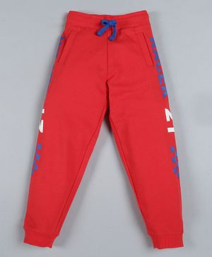 Plum Tree Full Length Side Text Print Jogger Track Pants - Red