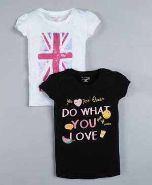 Plum Tree Pack of 2 Short Sleeves London Print T-Shirts - Black & Off White