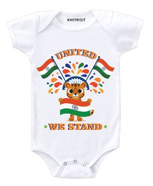 KNITROOT Short Sleeves United We Stand Print Onesie - White