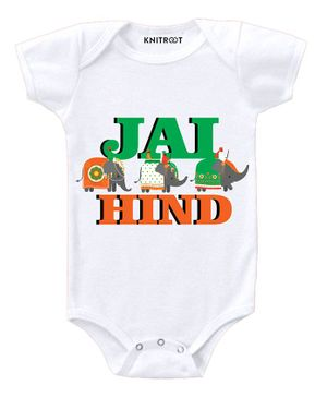 KNITROOT Short Sleeves Jai Hind Print Onesie - White