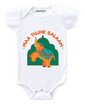 KNITROOT Short Sleeves Maa Tujhe Salaam Print Onesie - White