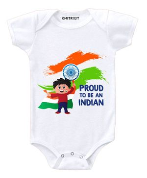 KNITROOT Short Sleeves Proud To Be An Indian Print Onesie - White
