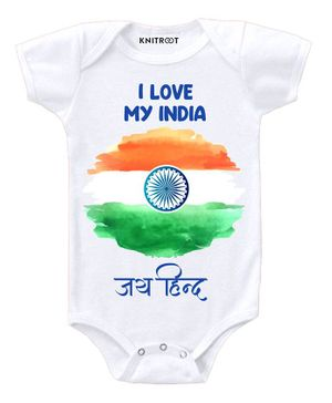 KNITROOT Short Sleeves I Love My India Print Onesie - White