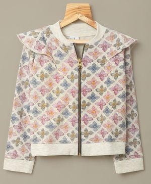Little Carrot Floral Print Full Sleeves Jacket - Grey