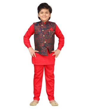 AJ Dezines Full Sleeves Kurta With Floral Print Jacket & Pajama - Red