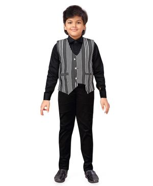 AJ Dezines Full Sleeves Shirt With Striped Waistcoat & Pants Set - Black