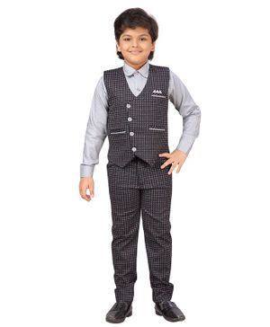 AJ Dezines Full Sleeves Shirt With Checkered Waistcoat Suspenders & Pant Set - Grey & Red