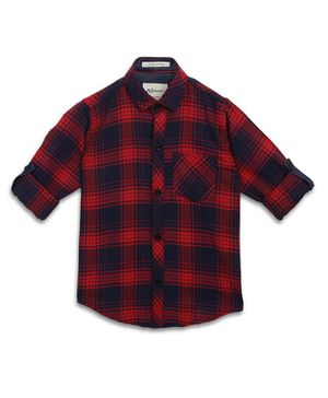 AJ Dezines Full Sleeves Checkered Shirt - Red