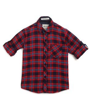 AJ Dezines Roll Up Full Sleeves Checkered Shirt - Red