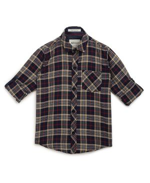 AJ Dezines Roll Up Full Sleeves Checkered Shirt - Beige & Navy Blue