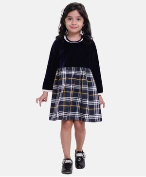 BownBee Full Sleeves Checked Flare Dress - Navy Blue