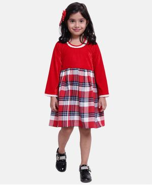 BownBee Full Sleeves Checked Flare Dress - Red