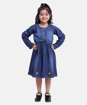 BownBee Full Sleeves Sun Embroidered Dress - Blue