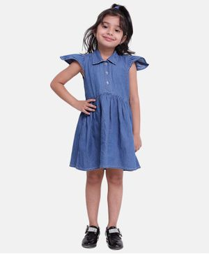 BownBee Ruffle Cap Sleeves Button Down Dress - Dark Blue