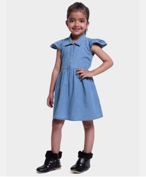BownBee Ruffle Cap Sleeves Button Down Dress - Blue