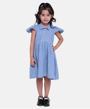 BownBee Ruffle Cap Sleeves Button Down Dress - Light Blue