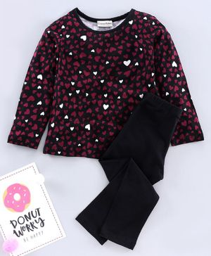 CrayonFlakes Full Sleeves All Over Hearts Printed Top With Leggings - Maroon