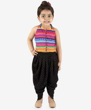 Lil Peacock Sleeveless Striped Top With Dhoti - Multi Colour