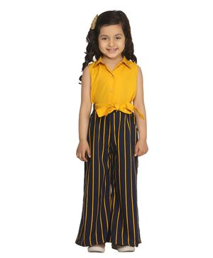 Lilpicks Couture Sleeveless Collared Stripe Detailed Jumpsuit - Yellow
