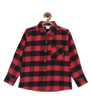 Aomi Full Sleeves Checked Casual Shirt - Red