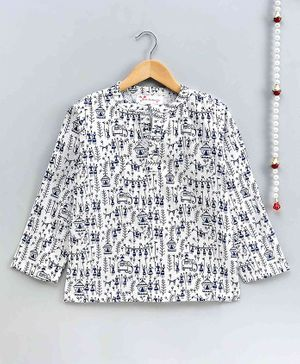 The Little Fashionistas Full Sleeves Wali Print Short Style Kurti - White & Blue