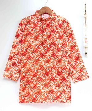 The Little Fashionistas Full Sleeves Traditional Batik Print Cotton Kurta - Orange