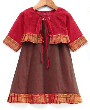 The Little Fashionistas Full Sleeves Dress With Frilled Border Jacket - Red & Green