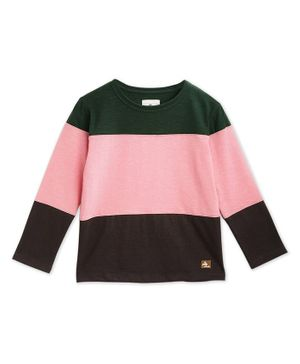 Cherry Crumble by Nitt Hyman Full Sleeves Colour Block Pattern Tee - Pink