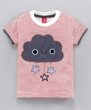 Jb Club Half Sleeves Cloud Patch Striped Tee - Red