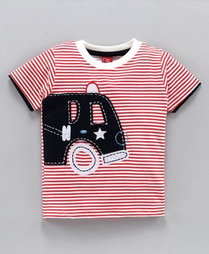 Jb Club Half Sleeves Vehicle Patch Striped Tee - Red
