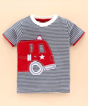Jb Club Half Sleeves Vehicle Patch Striped Tee - Navy Blue