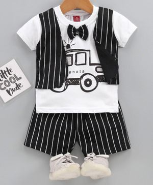 Jb Club Half Sleeves Striped Mock Waistcoat Tee With Shorts - Black