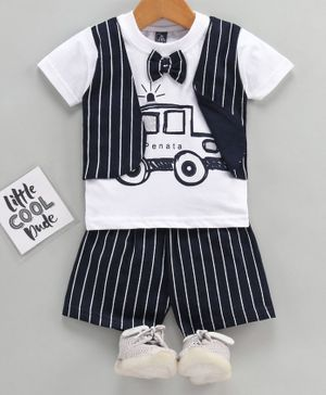 Jb Club Half Sleeves Striped Mock Waistcoat Tee With Shorts - Navy Blue