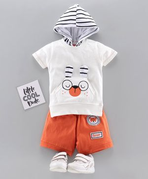 Jb Club Short Sleeves Dog Patch Hooded Tee With Shorts - Orange