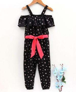 M'andy Half Sleeves All Over Stars Printed Cold Shoulder Jumpsuit - Black
