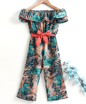 M'andy Short Sleeves Tropical Print Flared Hem Jumpsuit - Green