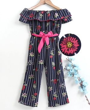 M'andy Short Sleeves Striped & Flower Print Jumpsuit - Blue