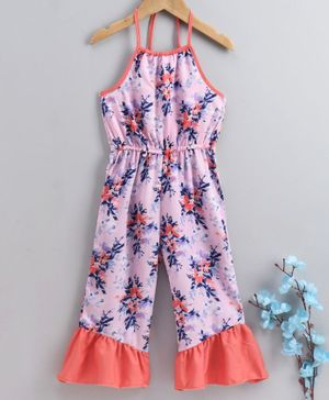 M'andy Flower Print Halter Neck Sleeveless Jumpsuit - Pink