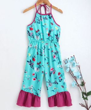 M'andy Floral Print Halter Neck Sleeveless Jumpsuit - Blue