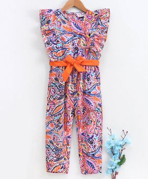 M'andy Short Sleeves All Over Leaves Print Jumpsuit - Multi Colour