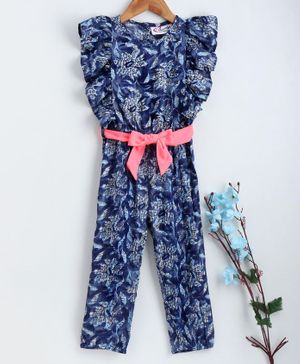 M'andy Cap Sleeves Flower Print Jumpsuit - Blue