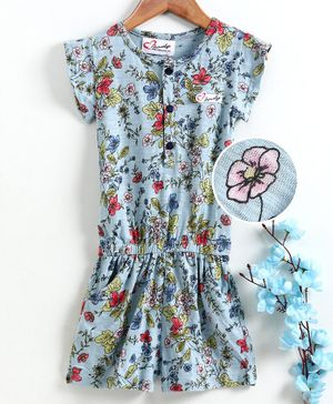 M'andy Short Sleeves Floral Print Jumpsuit - Blue