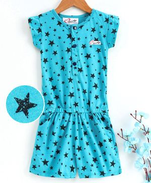M'andy Short Sleeves Stars Printed Jumpsuit - Blue