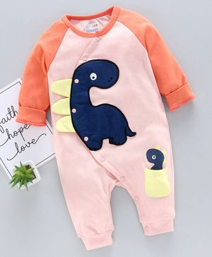 Bumzee Full Sleeves Dino Patch Romper - Pink
